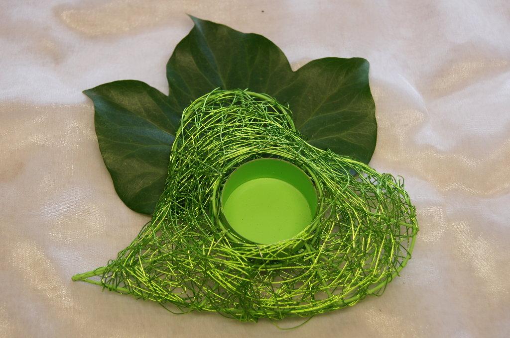 Teelichthalter Herz grün Tischdeko Hochzeit
