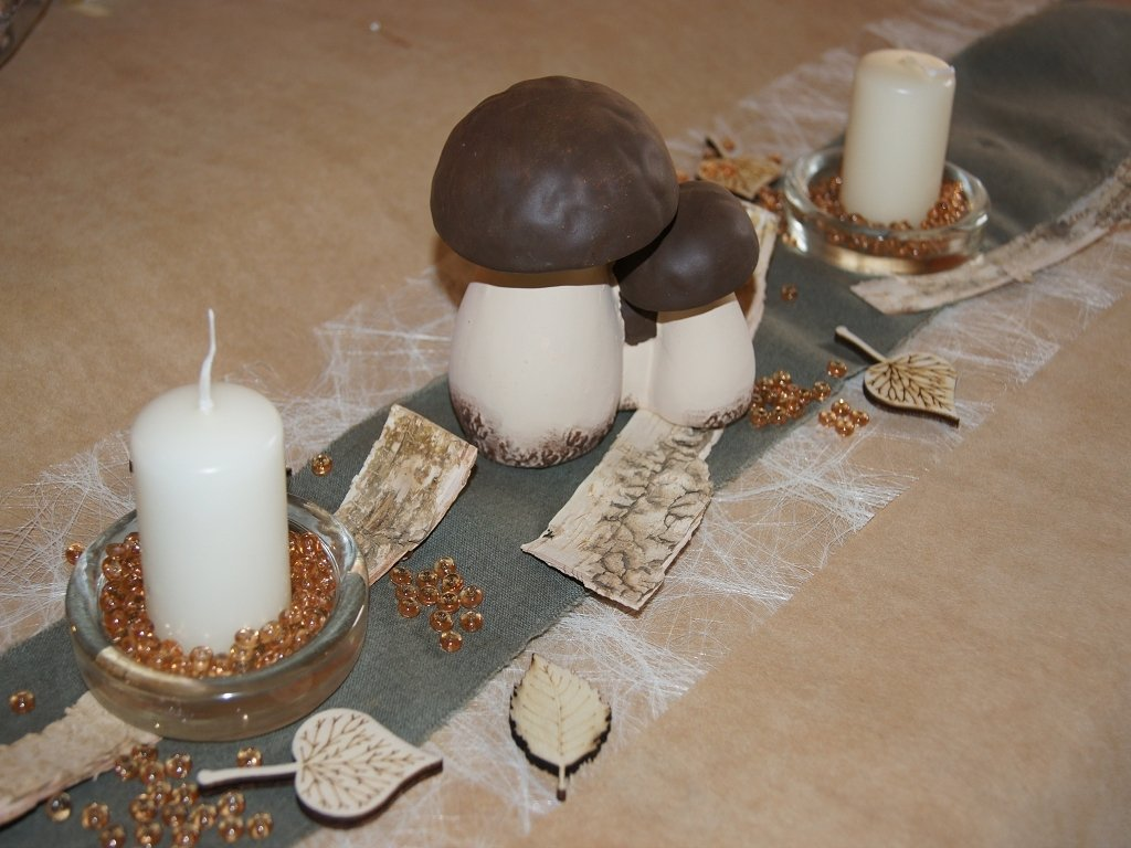 Steinpilz Creme Braun 3er Tischdeko Herbst