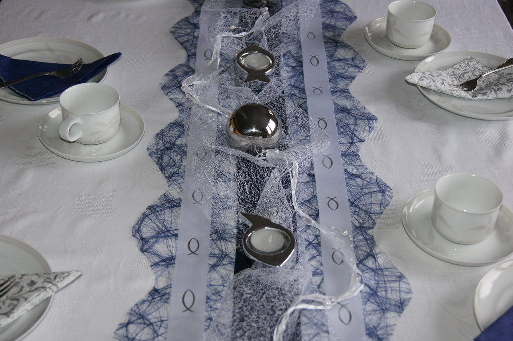 Satinband Kommunion 2,5cm weiß silber - Tischdeko Kommunion