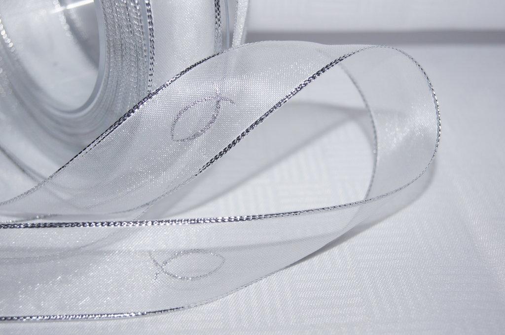 Organzaband Kommunion 2,5cm weiß silber - Tischdeko Kommunion