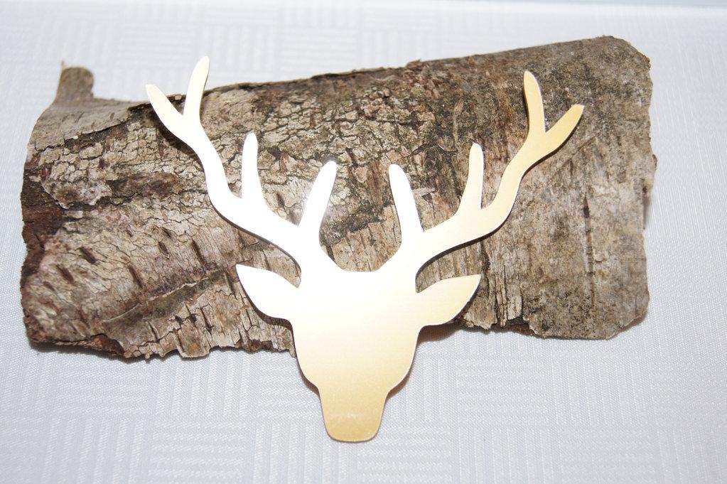 Hirschkopf gold Acryl - Tischdeko Jagd