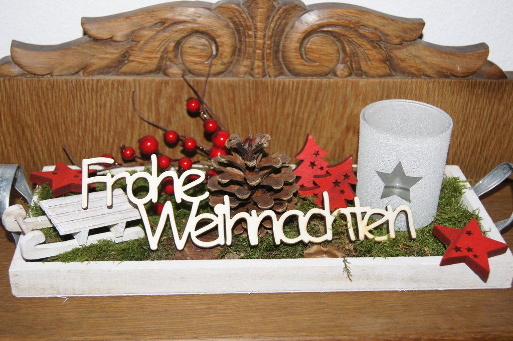 schriftzug frohe weihnachten aus holz tischdeko weihnachten. Black Bedroom Furniture Sets. Home Design Ideas