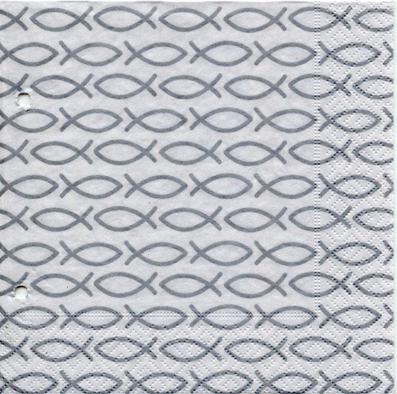 servietten fische silber tischdeko kommunion. Black Bedroom Furniture Sets. Home Design Ideas