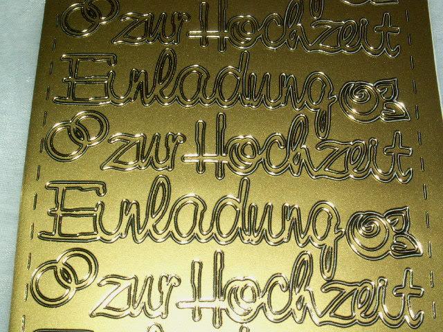 Schön Konturen Sticker Einladung Zur Hochzeit Gold
