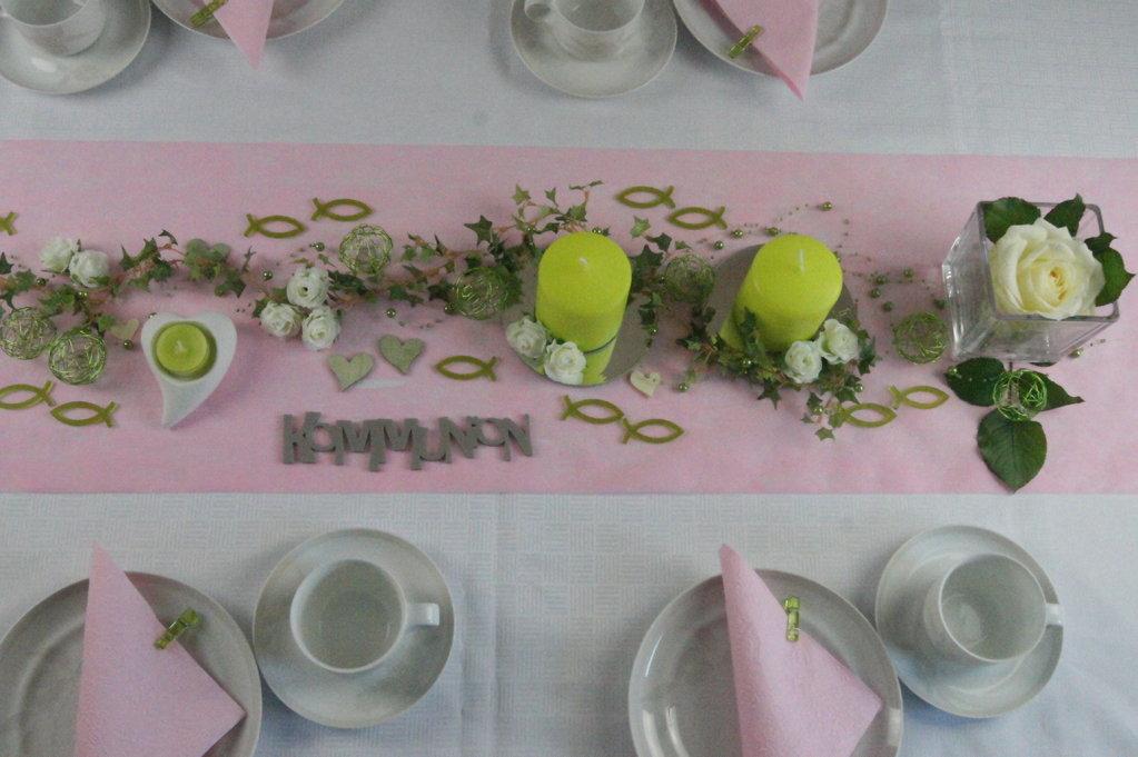 Tischdekoration Kommunion Rosa Tischdeko Kommunion