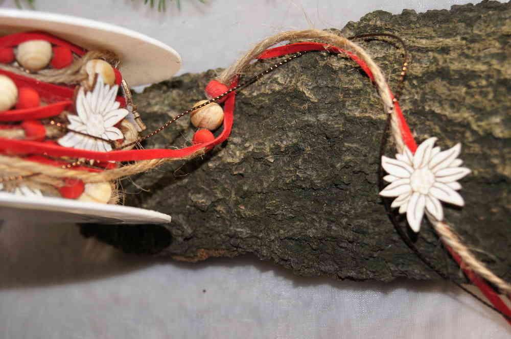 Band Kordel Edelweiss Tischdeko Weihnachten