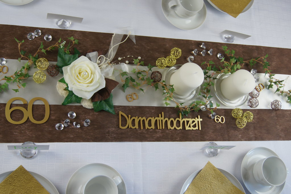 Tischdeko Diamanthochzeit Braun Creme Tischdeko Hochzeit