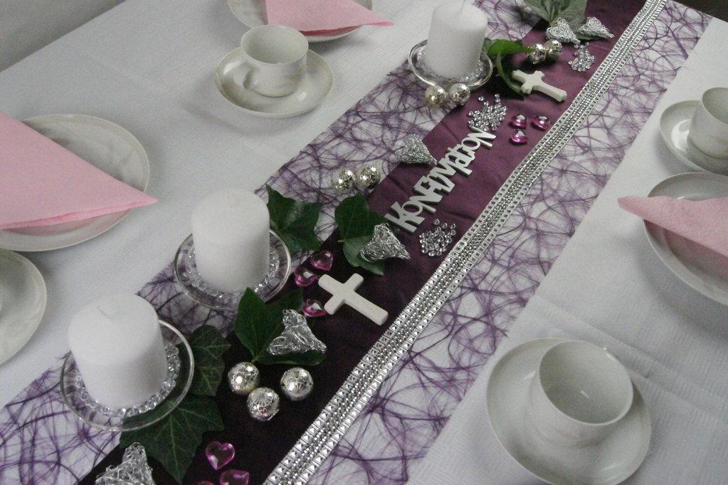 Tischband silber edel tischdeko silberhochzeit for Tischdeko silber