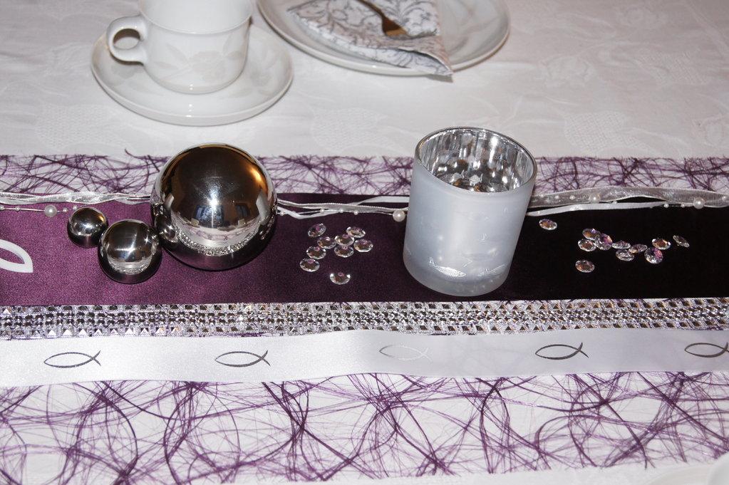 Satinband Kommunion 4cm weiß silber - Tischdeko Kommunion