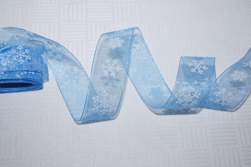 Schneeflocken Schmuckband Blau Tischdeko Winter