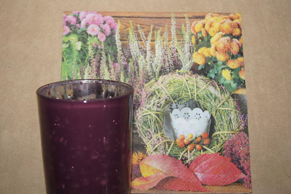 Teelichtglas beere aubergine klein die tischdeko - Tischdeko aubergine ...