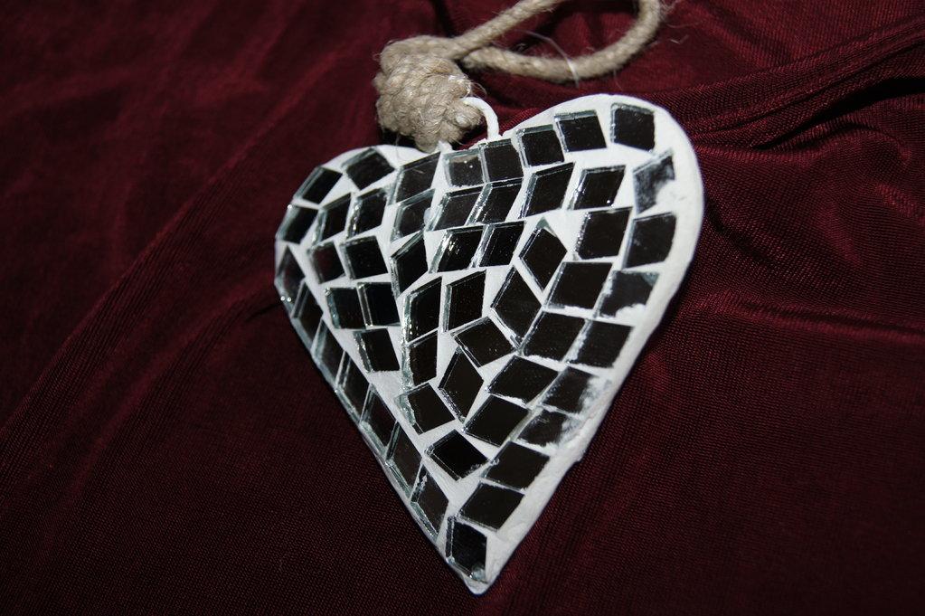 herz gro mosaico spiegel silber tischdeko. Black Bedroom Furniture Sets. Home Design Ideas