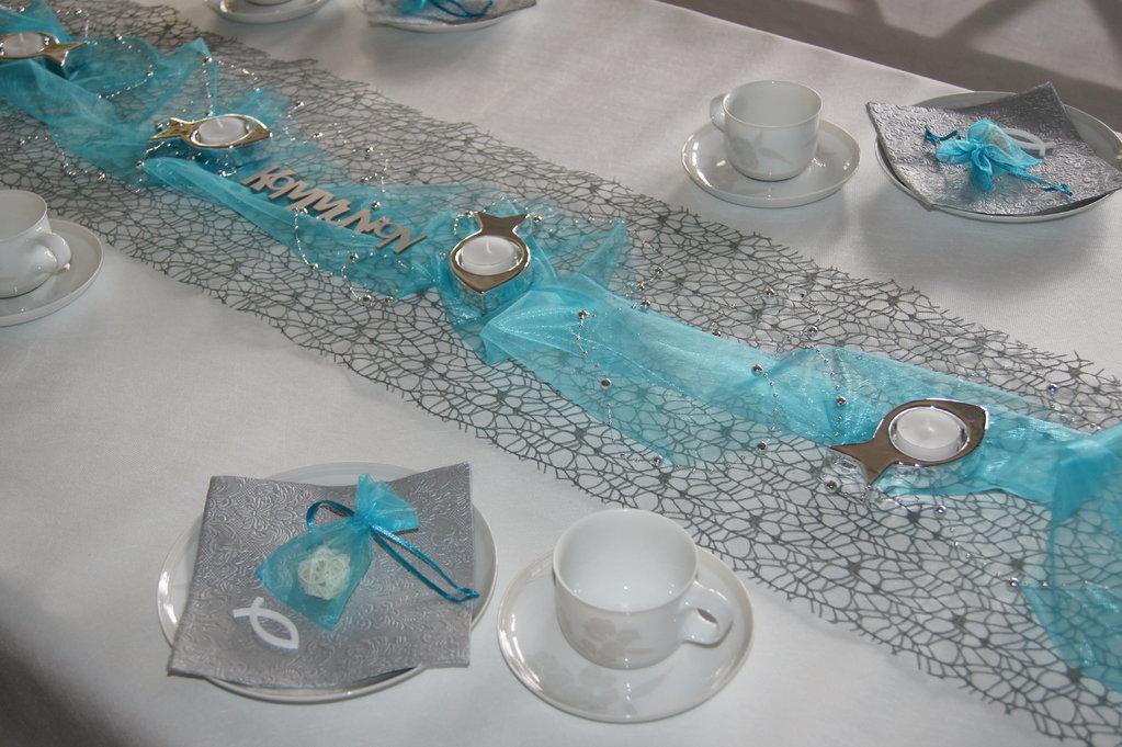 Netzstoff Grau Tischband