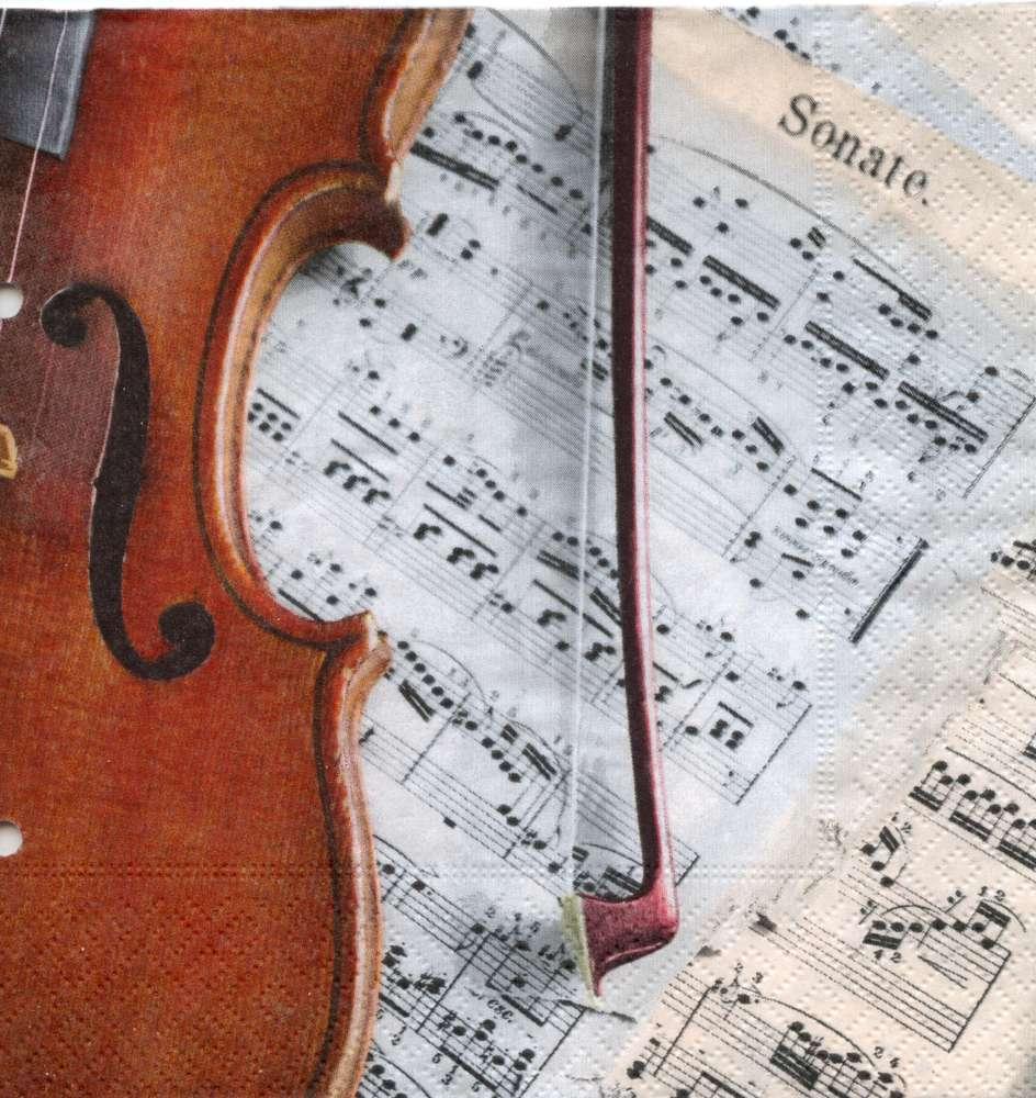 Servietten Geige mit Noten Tischdeko Musik
