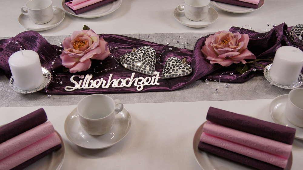 Tischdeko Silberhochzeit Aubergine Rosa Tischdeko Silberhochzeit