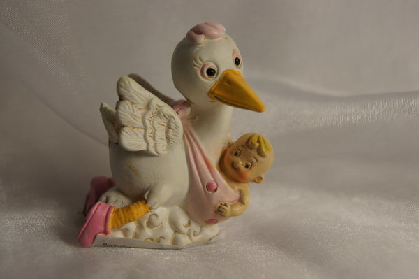 BABY mit Storch rosa
